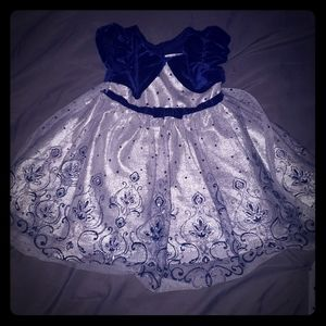 Beautiful silver and navy blue holiday dress